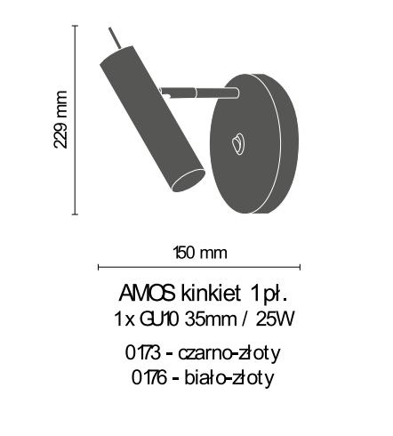 Amplex Amos 0173 Kinkiet czarny/złoty