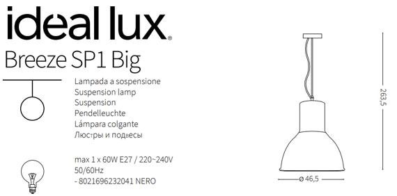 Ideal Lux Breeze SP1 Big Żyrandol w stylu loft kolor czarny/biały