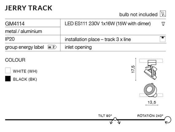 Jerry Track GM4114-WH Azzardo Reflektorek do szynoprzewodu