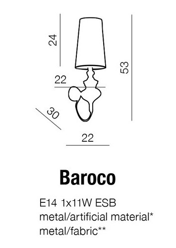 Kinkiet AZZARDO Baroco AB 7121-1S Silver