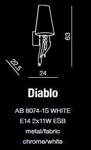 Kinkiet AZZARDO Diablo AB 8074-1S Biały