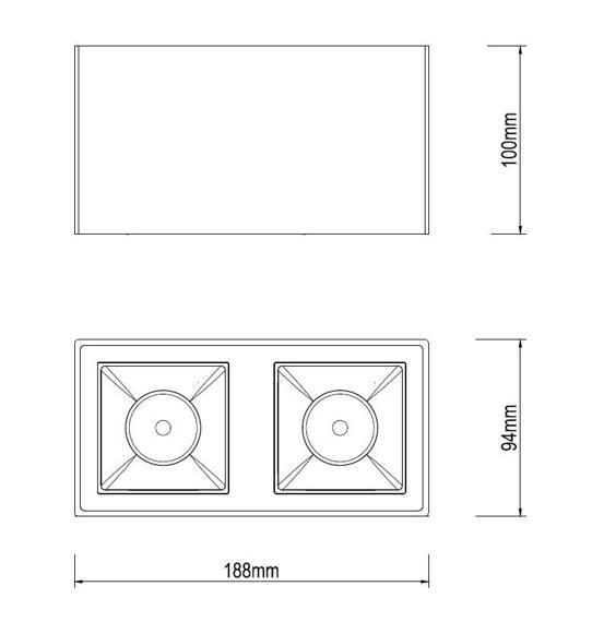 Spot Ledowy Dann Lux Design KAFO BK2X10 DLD5237 Czarny